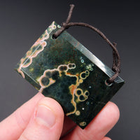 Natural Ocean Jasper Pendant Green Pink Yellow Orbs Drilled Faceted Rectangle Pendant 2 Hole Pendant P414