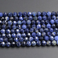 "Geometric Lantern Faceted Natural Blue Sodalite 8mm 10mm Round Sparkling Gemstone Good For Earring Pair Bead 16"" Strand"