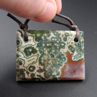 Natural Ocean Jasper Pendant Green Orbs Drilled Faceted Rectangle Pendant 2 Hole Pendant P396