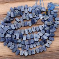 "Raw Natural Blue Kyanite Oval Rounded Rectangle Beads Horizontally Drilled Rough Cut Flat Slice Gemstone 16"" Strand"