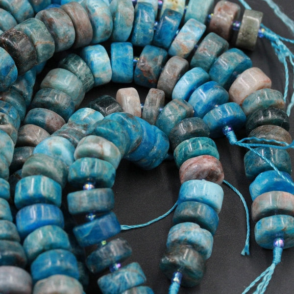 "Natural Blue Apatite Rondelle Wheel Thick Center Drilled Disc Coin Beads Polished Teal Blue Gemstone Beads 10mm 12mm 16"" Strand"