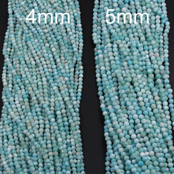 "Natural Larimar Beads Micro Faceted Small 4mm Faceted 5mm Faceted Round Beads Genuine Natural Blue Larimar Gemstone AA Grade 16"" Strand"