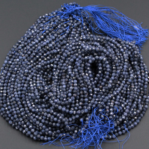 "High Quality Natural Blue Sapphire Round Beads 2mm 3mm 4mm 5mm 6mm Faceted Round Beads Micro Cut Facetet Small Genuine Gemstone 16"" Strand"