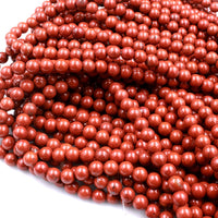 "A Grade Natural Red Jasper 4mm 6mm 8mm 10mm Round Beads Red Poppy Jasper 16"" Strand"