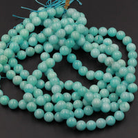 "Natural Peruvian Amazonite Beads 4mm 8mm 10mm Round Beads Sea Blue Gemstone Beads 16"" Strand"