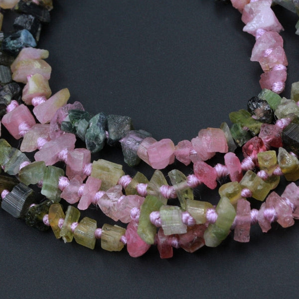 "Raw Rough Natural Pink Green Blue Tourmaline Beads Watermelon Multi Color Tourmaline Gemstone Freefrom Irregular Nugget Chip Full 17"" Strand"