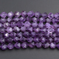 "Superior A+ Grade Geometric Cut Star Cut Genuine 100% Natural Amethyst Faceted 6mm 8mm 12mm Rounded Nugget Delicious Purple Beads 16"" Strand"