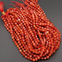 "Star Cut Natural Red Carnelian Beads Faceted 6mm 8mm 10mm Rounded Nugget Sharp Facets 15"" Strand"