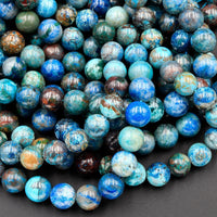 "Natural Chrysocolla Beads 4mm 6mm 8mm Round Beads Real Natural Blue Green Chrysocolla Gemstone 16"" Strand"