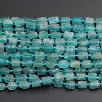 "Extra Gemmy Raw Rough Natural Teal Blue Green Apatite Beads Frosty Matte Nuggets Rectangle Tube Beads Organic Natural Gemstone 16"" Strand"