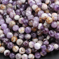 "Natural Chevron Amethyst Beads 4mm 6mm 8mm 10mm Round Beads Purple Flower Amethyst Brown White Gemstone 16"" Strand"