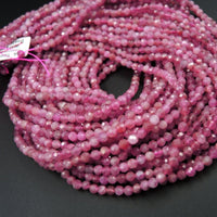 "Micro Faceted Tiny Small Natural Pink Tourmaline Faceted 2mm 3mm 4mm 5mm Round Beads Diamond Cut Gemstone 16"" Strand"