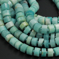 "AAA Natural Amazonite Beads Blue Green Faceted Thick Wheel Rondelle 8mm 10mm 12mm 14mm High Quality Designer Beads Full 16"" Strand"