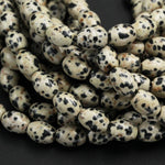"Natural Dalmatian Jasper Drum Barrel Oval Beads 12mm Thick Tube Beads Natural Black White Beige Quail Egg Look Bead 16"" Strand"