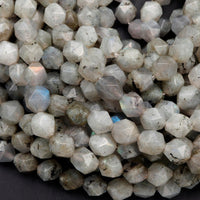 "Star Cut Natural Labradroite Beads Faceted 8mm Rounded Nugget Sharp Facets 15"" Strand"