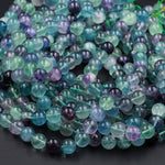 "Natural Fluorite Beads 4mm 6mm 8mm 10mm Round Polished Finish Purple Green Blue Fluorite Gemstone Beads 16"" Strand"