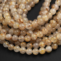 Natural Golden Rutile Quartz 4mm 6mm 8mm 12mm Round Beads Gold Yellow Rutilated Quartz Round Beads Tons of Sharp Rutile Hair Needle Strand