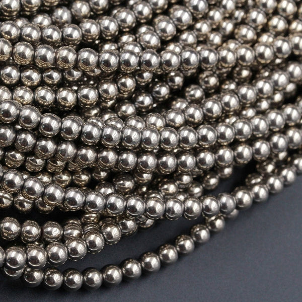 "Titanium Pyrite 2mm 3mm 4mm 6mm 8mm Round Beads Plain Round High Quality Sparkling Pyrite Natural Gemstone Beads 16"" Strand"
