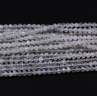 "Micro Faceted Natural Blue Rainbow Moonstone Round Beads 3mm 3.5mm 4mm Faceted Round Beads 16"" Strand"