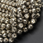 "Titanium Pyrite Faceted 4mm 6mm 8mm Round Beads Micro Faceted Round Diamond Micro Cut Sparkling Natural Gemstone 16"" Strand"