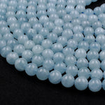 "Natural Blue Aquamarine 6mm 8mm Round Beads AA Grade Translucent Real Genuine Natural Blue Aquamarine Gemstone Birthstone 16"" Strand"
