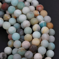 "Matte Amazonite Round Beads 4mm 6mm 8mm 10mm A Grade Matte Natural Multi Color Multicolor Amazonite Blue Green Yellow Brown Bead 16"" Strand"