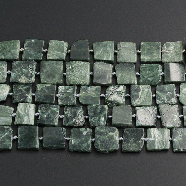 "Green Russian Seraphinite Square Beads Large Chunky Natural Cushion Thin Slice Nugget Designer Cut Beads 16"" Strand"