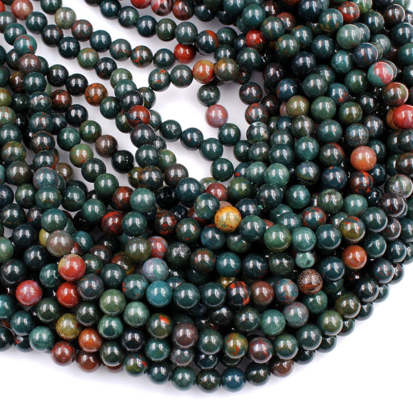 "Real Genuine Bloodstone 4mm 6mm 8mm Round Beads Superior Quality~  100% Natural Bloodstone Full 16"" Strand"