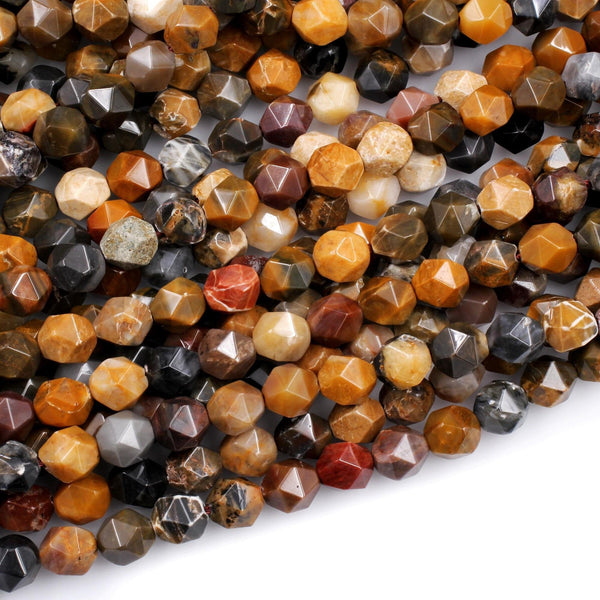 "Star Cut Natural Brown Autumn Jasper Beads Faceted 8mm Rounded Nugget Sharp Facets 15"" Strand"