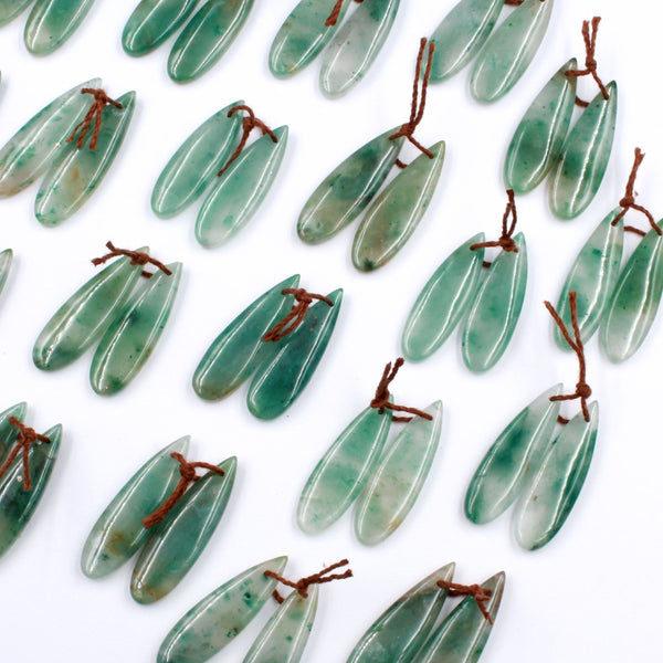 Drilled Natural Green Jade Earring Pair Teardrop Cabochon Cab Pair Matched Gemstone Earrings Bead Pair