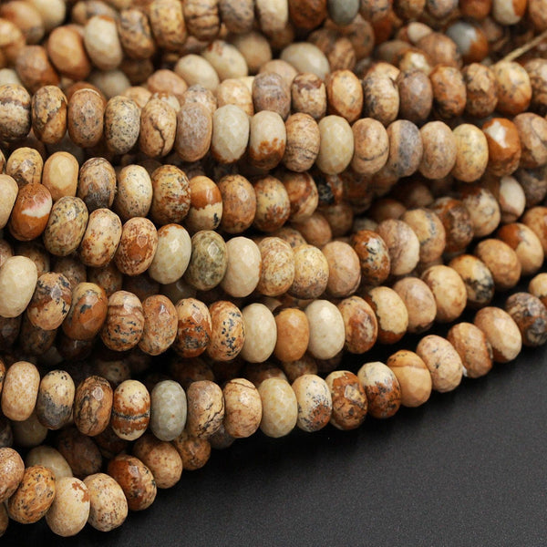 "Natural Picture Jasper Faceted 8mm 10mm Rondelle Beads Natural Desert Jasper Rondelle Earthy Yellow Brown Tan Jasper 16"" Strand"
