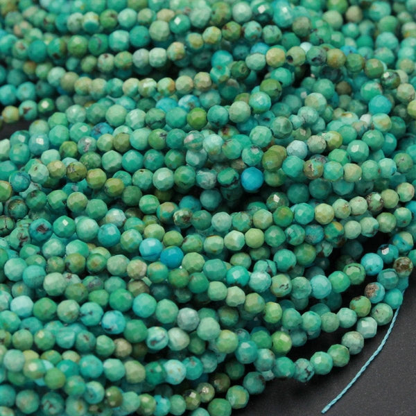 "Natural Turquoise Tiny Small 2mm Faceted Round Beads 3mm Faceted Real Genuine Natural Blue Green Turquoise Micro Faceted Cut 16"" Strand"