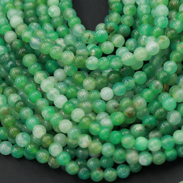 "Natural Australian Green Chrysoprase 4mm Round Beads Smooth Highly Polished High Quality Natural Green Gemstone 16"" Beads 16"" Strand"