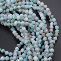 "Natural Larimar Beads Faceted 3mm 4mm 5mm Round Beads Genuine Natural Blue Larimar Red Iron Matrix Gemstone High Quality 16"" Strand"