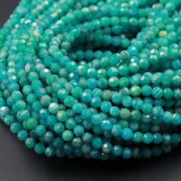 "Rare Russian Amazonite Faceted Round Beads 4mm 5mm Micro Faceted Stunning Natural Blue Green Laser Diamond Cut Gemstone 16"" Strand"