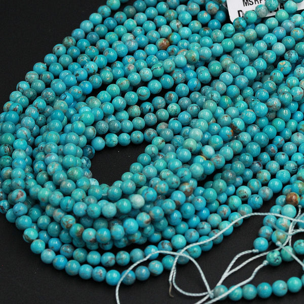 "Natural Blue Green Turquoise 4mm Round Beads 3mm Round High Quality Real Genuine Vibrant Blue GreenTurquoise Spheres Gemstone 16"" Strand"