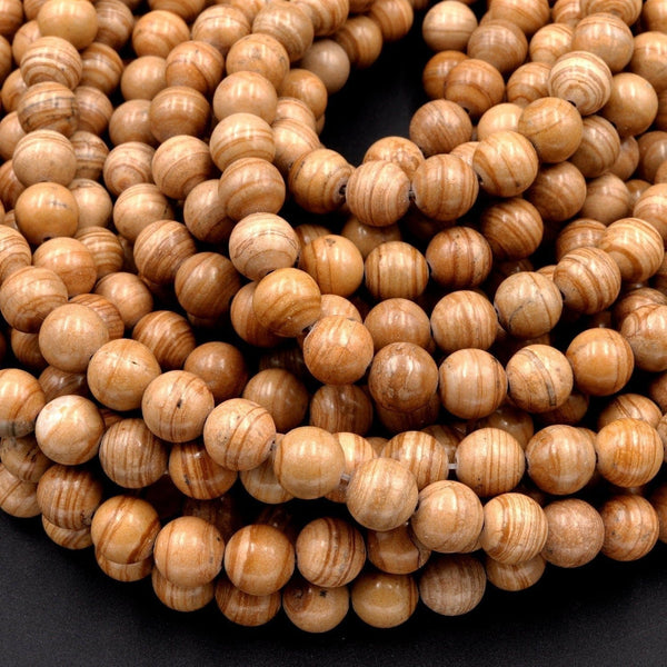 "Natural Mars Jasper Beads 6mm 8mm 10mm Round Earthy Yellow Brown Rings Swirls 16"" Strand"