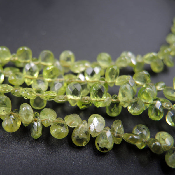 "A+ Grade Natural Peridot Faceted Small Teardrop Pear Beads  6mm 5mm Gemmy Sparkling Real Genuine Green Gemstone Earring Beads 16"" Strand"