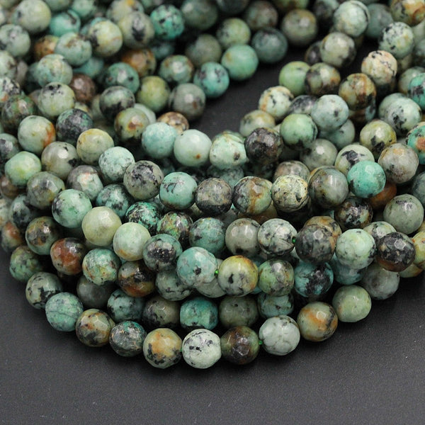 "Faceted African Turquoise 4mm 6mm 8mm 10mm Round Beads High Quality Natural Turquoise Gemstone Lots of Blues Greens 16"" Strand"