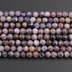 "Natural Charoite Round Beads 6mm Round 8mm Round W Interesting Orange Garnet Black Aegirine Matrix beads 16"" Strand"