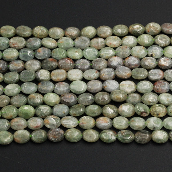 "Natural Green Kyanite Oval Beads 9mm x 7mm A Quality Chatoyant Silvery Green Gemstone Oval Beads 16"" Strand"