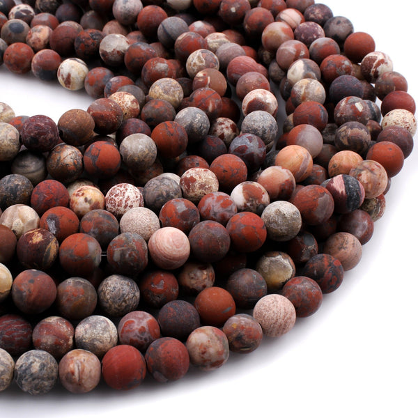 "Matte Natural Red River Jasper Aka Red Brecciated Jaspe 6mm 8mm Round Beads Matte Finish Jasper 16"" Strand"