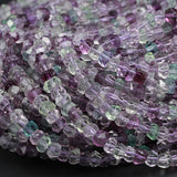"AAA Super Clear Natural Fluorite Faceted Rondelle Beads 7mm 8mm Sharp Facets Laser Diamond Cut Purple Green Blue Gemstone Beads 16"" Strand"