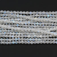 "AAA Natural Rainbow Moonstone 4mm Faceted Round Beads 5mm 6mm Faceted Round Beads Extra Blue Flashes Super Translucent Gemstone16"" Strand"