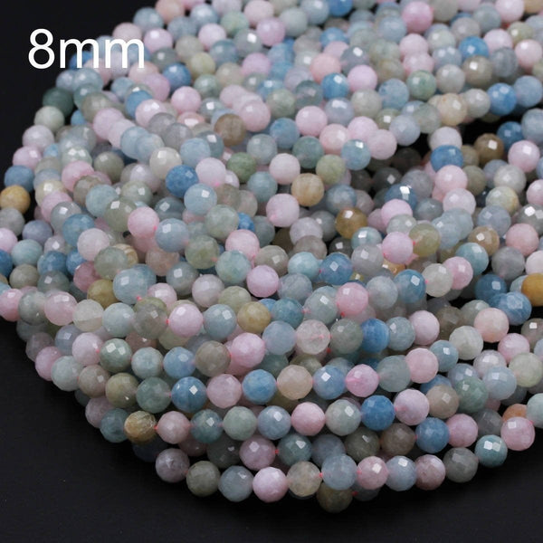 "Micro Faceted Natural Beryl Round Beads 6mm 8mm Faceted Pastel Pink Morganite Blue Aquamarine Round Laser Diamond Cut Gemstone 16"" Strand"