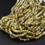 "Micro Faceted Natural Green Garnet Faceted Rondelle 3mm 4mm 5mm Diamond Cut Gemstone Beads 16"" Strand"