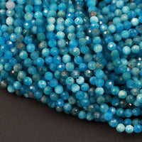"Micro Faceted Small Natural Blue Apatite Round Beads 2mm Faceted 3mm Faceted 4mm 5mm Round Beads Laser Diamond Cut Gemstone 16"" Strand"