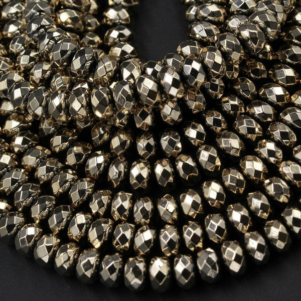 "Large Hole Beads Titanium Pyrite 6x4mm 8x5mm Faceted Rondelle Large Hole Gemstone Beads 16"" Strand"