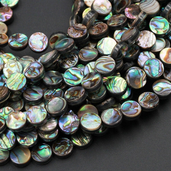 "Abalone 8mm Coin Beads 10mm Coin Bead Iridescent Rainbow Glow Blue Green Red Pink Flash A Grade Real Genuine Natural Abalone 16"" Strand"