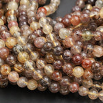 "Multicolor Natural Red Brown Coffee Yellow Rutile Quartz 4mm 6mm 6mm Round Beads Tons of Sharp Rutilated Hair Needle Earthy Color 16"" Strand"
